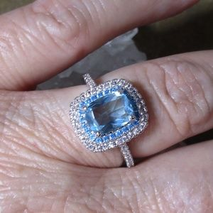 Blue emerald cut CZ tiered ring Size 6-9 1007
